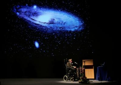"FILE PHOTO: British physicist Stephen Hawking delivers a lecture on ""The Origin of the Universe"" in Brussels"